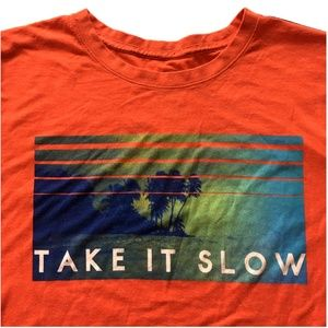 "*3/$30* Orange ""Take It Slow"" Life is Good Tee"